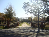 Callaway Cemetery entrance on a sunny day