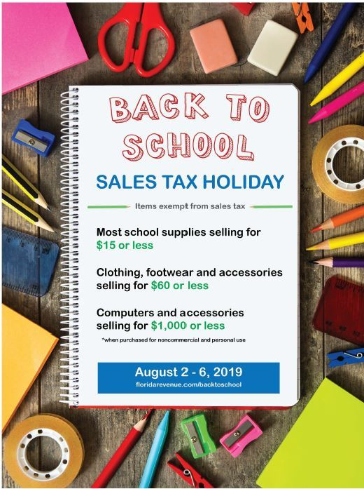 Back to school sales tax holiday-2019